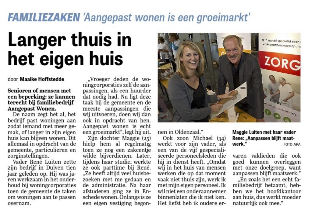 Aangepast Wonen in de Telegraaf